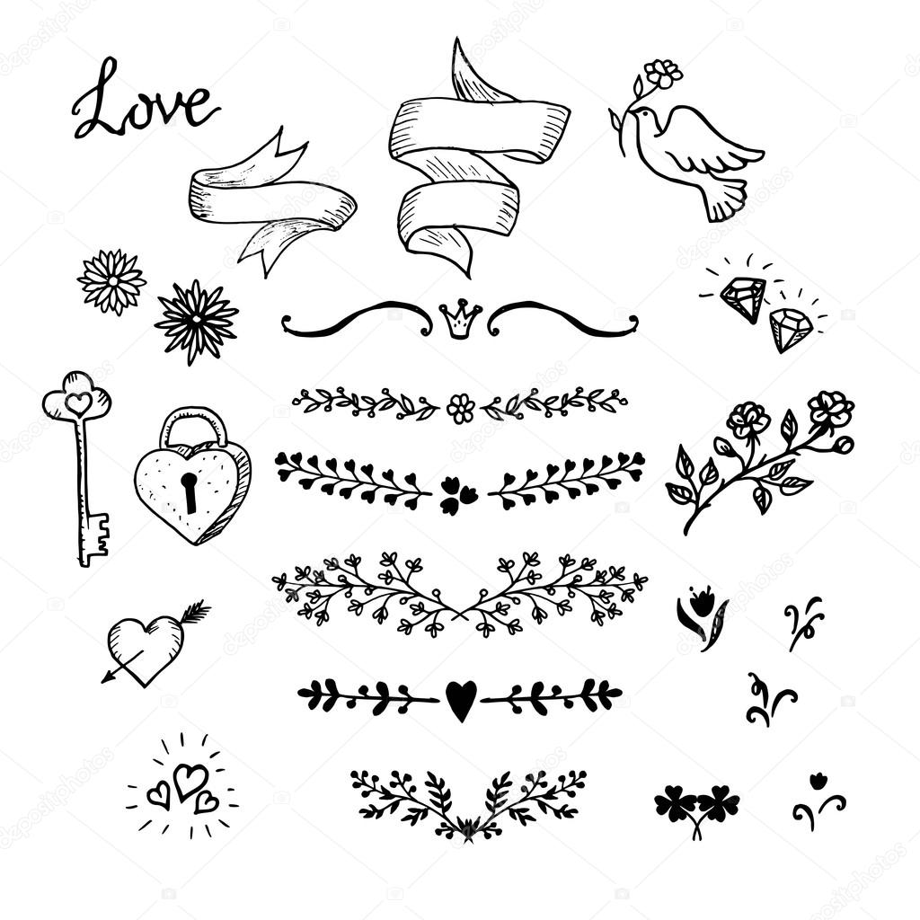Wedding hand made graphic set flowers ribbons and decorative wedding hand made graphic set flowers ribbons and decorative elements vector design elements decorations junglespirit Image collections