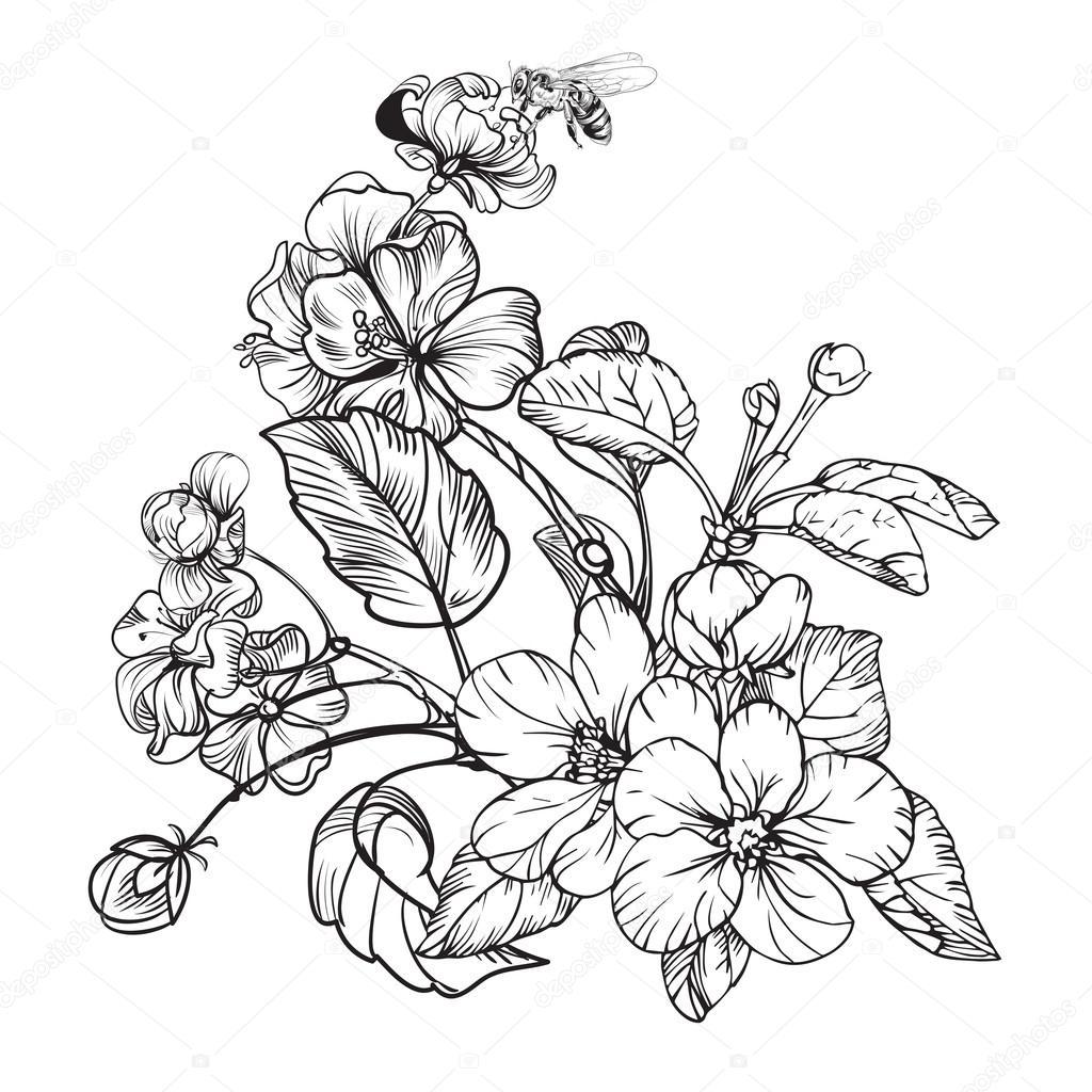 Vintage elegant flowers. Black and white vector ...  Vintage elegant...