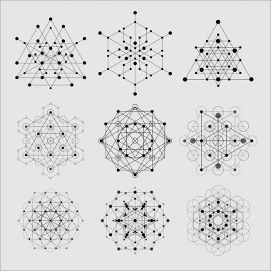 Sacred geometry design elements. Alchemy religion, philosophy, spirituality hipster symbols and elements stock vector