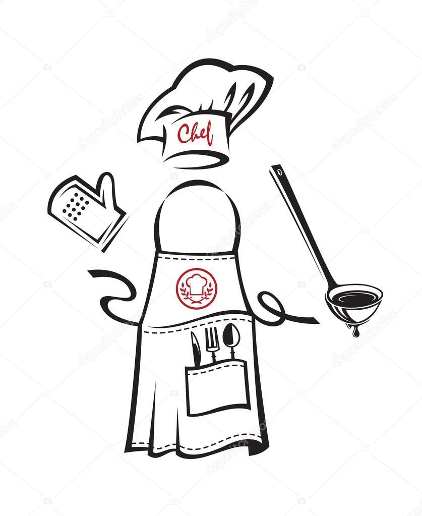 Mandil con utensilios de cocina vector de stock for Utensilios para chef