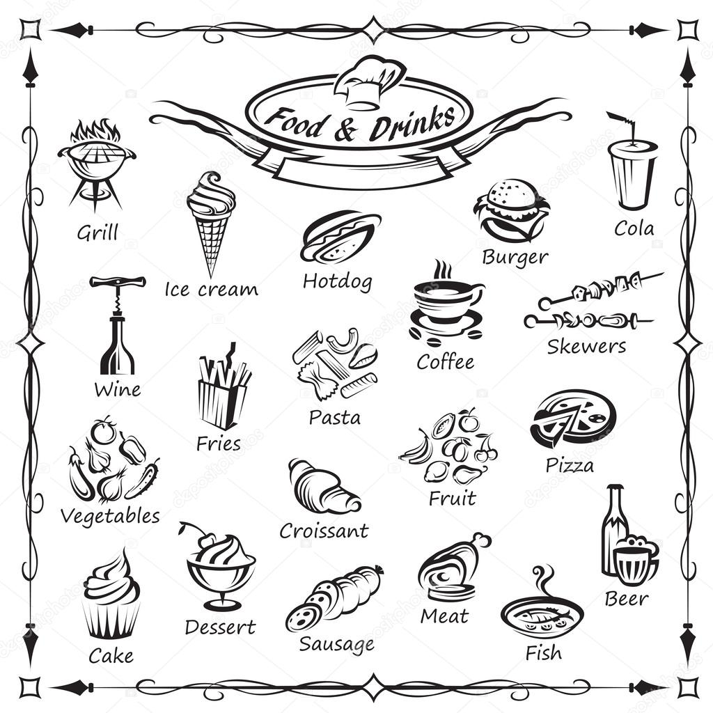 Set of food and drinks