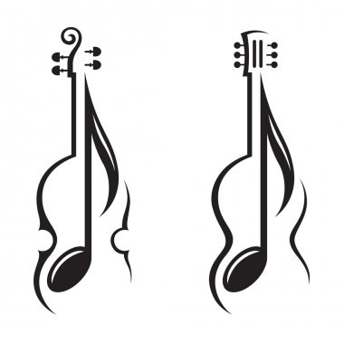 Violin, guitar and note