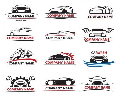 Set of twelve car icons stock vector