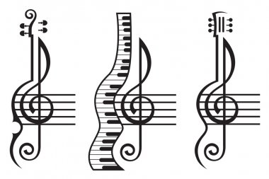 violin, guitar, piano and treble clef
