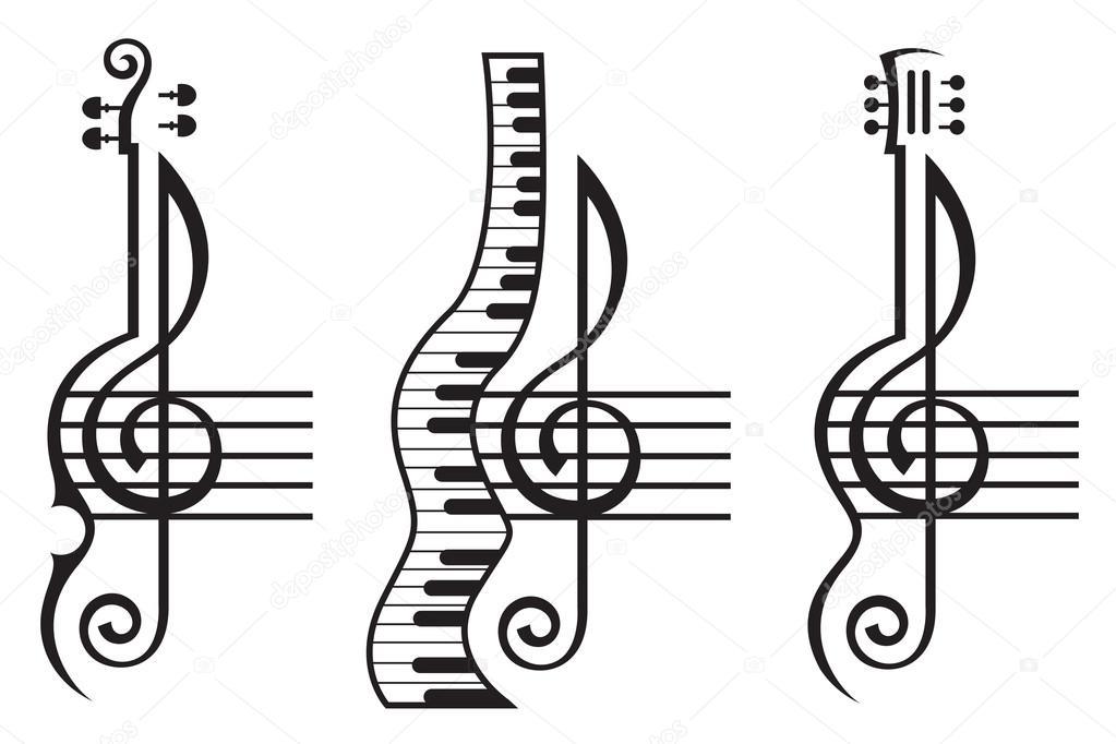 violin, guitar, piano and treble clef