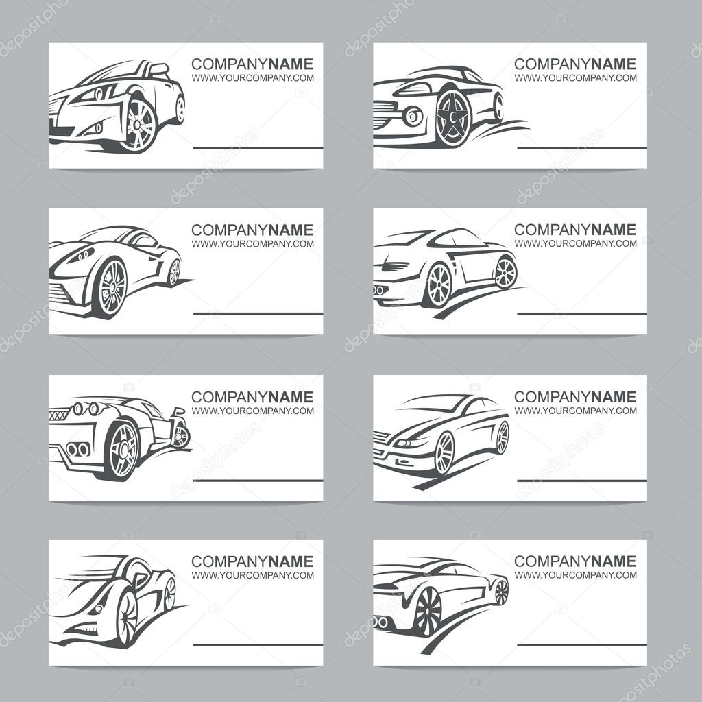 Collection Of Eight Business Cards With Cars Vector By Alexkava