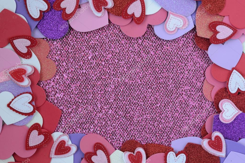 Hearts on Glitter Background