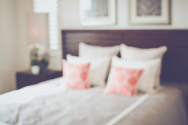 Blurred Bedroom with Bed