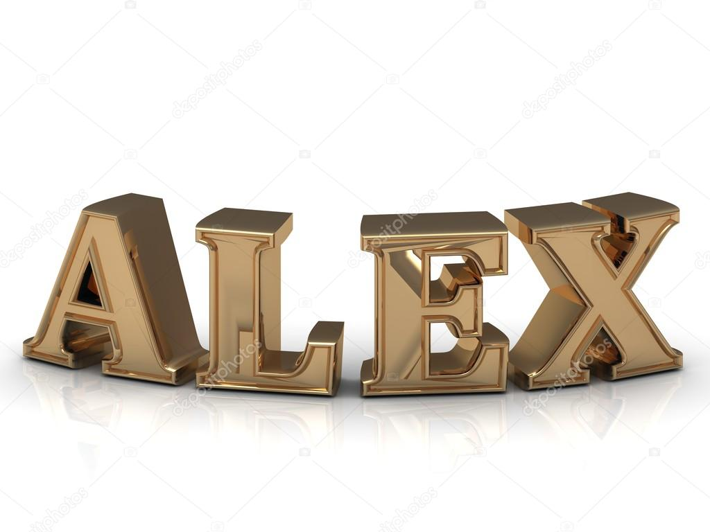 Alex - Familie und den Namen der leuchtend gold Buchstaben ...