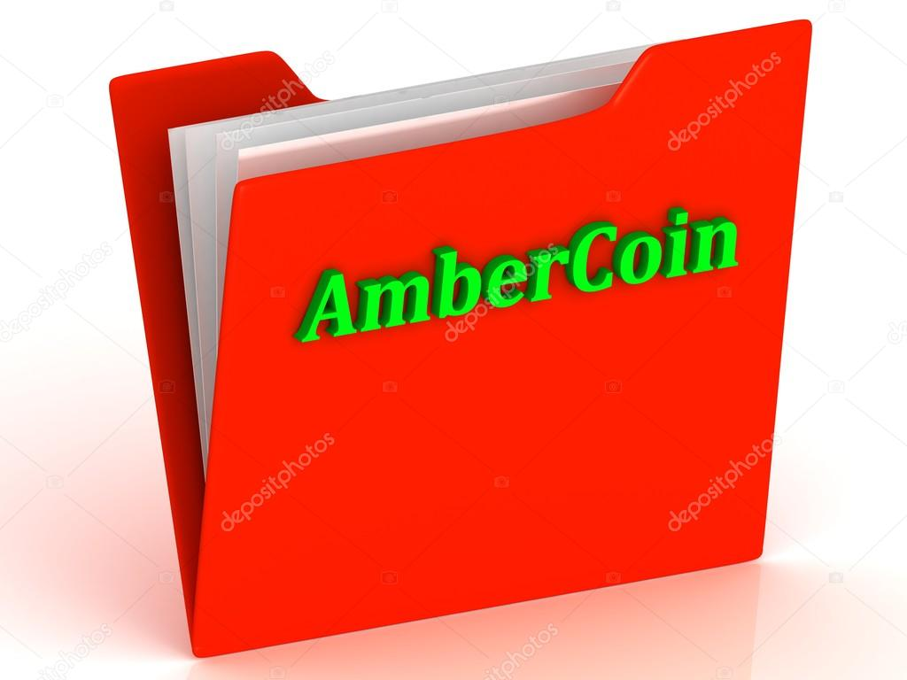 AmberCoin- bright green letters on a gold folder