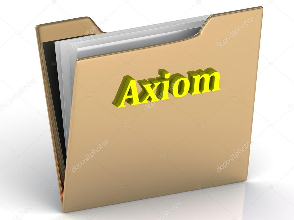 Axiom- bright letters on a gold folder on