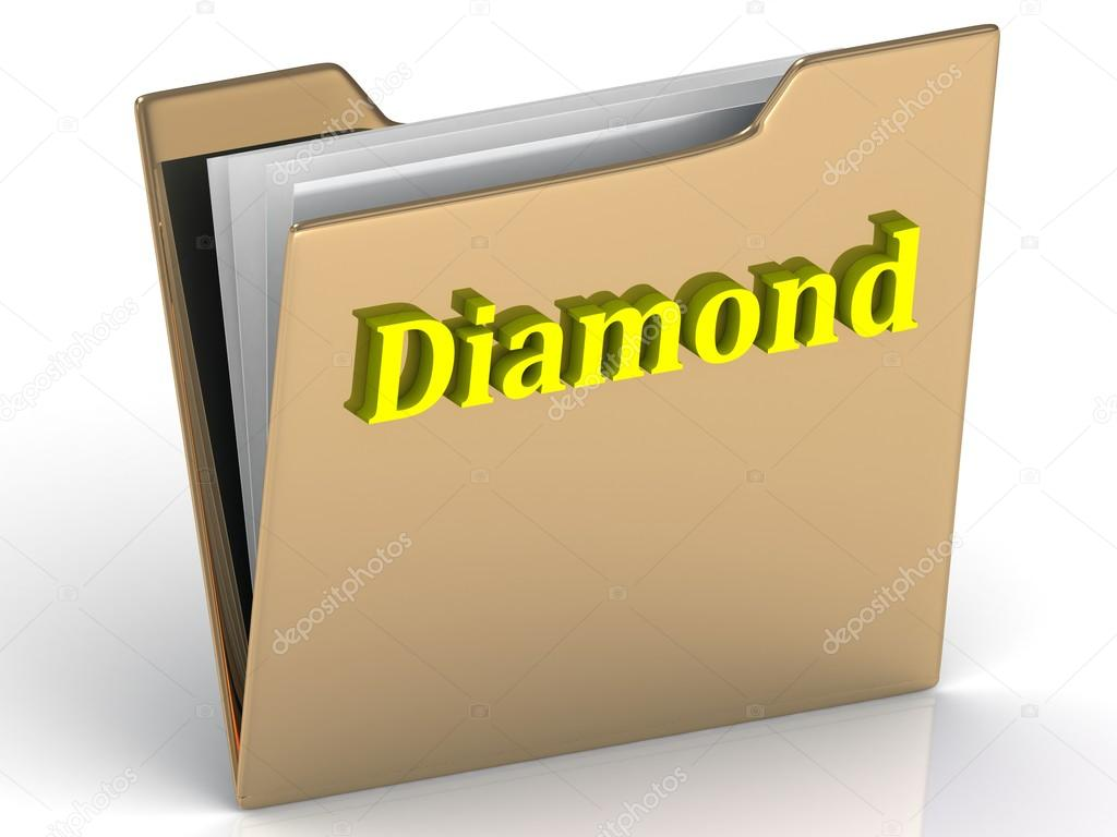 Diamond- bright color letters on a gold folder