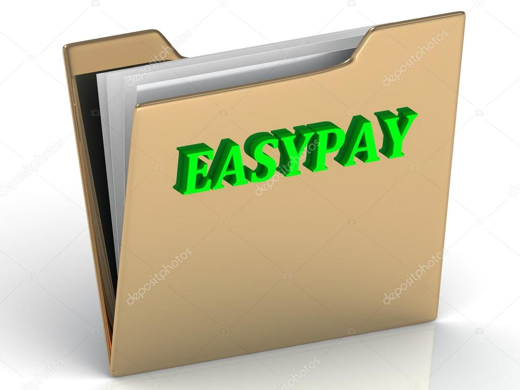 EASYPAY- bright color letters on a gold folder