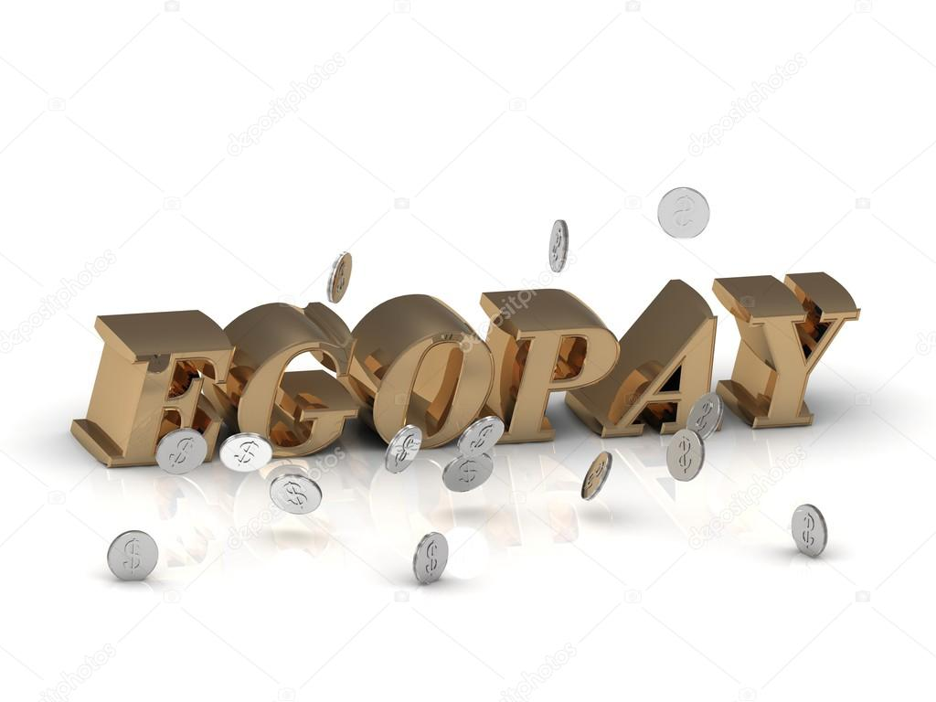 EGOPAY- inscription of gold letters on white background