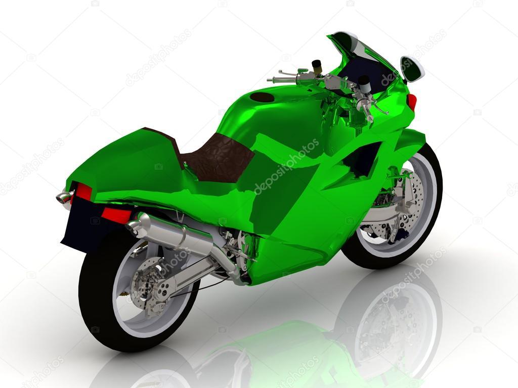 Motos deportivas con esmalte verde brillante — Fotos de Stock ...