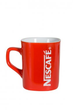 Moscow, Russia November 08,2015: Studio shot of a red Nescafe cup isolated on white background..