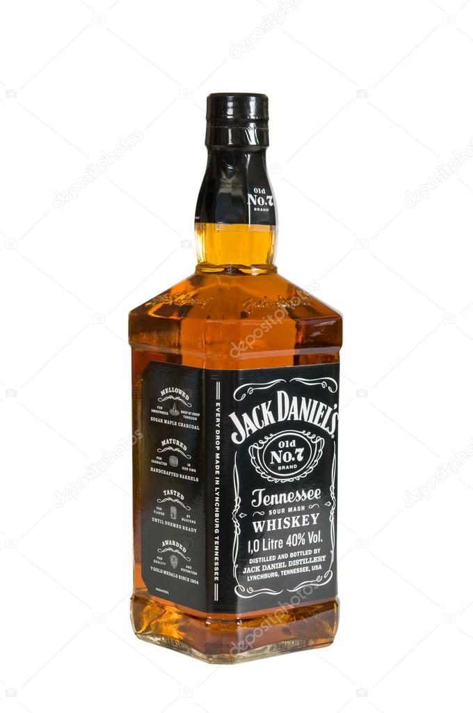 Moscow, Russia November 09,2015 : botle of Jack Daniels. Jack Daniel's is a brand of sour mash Tennessee whiskey.