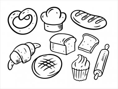 Bakery doodles elements. Black color. Hand draw vector illustration. Isolated on white background. icon