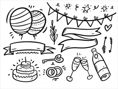 Celebrate and happy birthday doodles elements set. Hand drawn black color outline. Vector illustration. Isolated on white background. icon