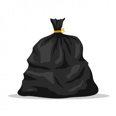 Plastic garbage bag icon isolated on white background. Black container for trash isolated on white. Garbage recycling and utilization equipment. Waste management. Vector illustration. icon