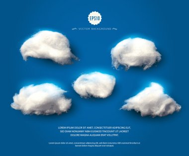 Set of cotton clouds.