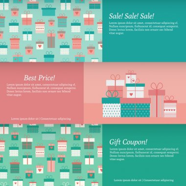 Set of banners with gift boxes. Vector illustration