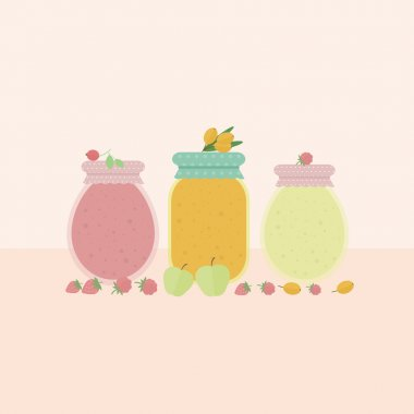 Card with glass jars of jam. Vector illustration