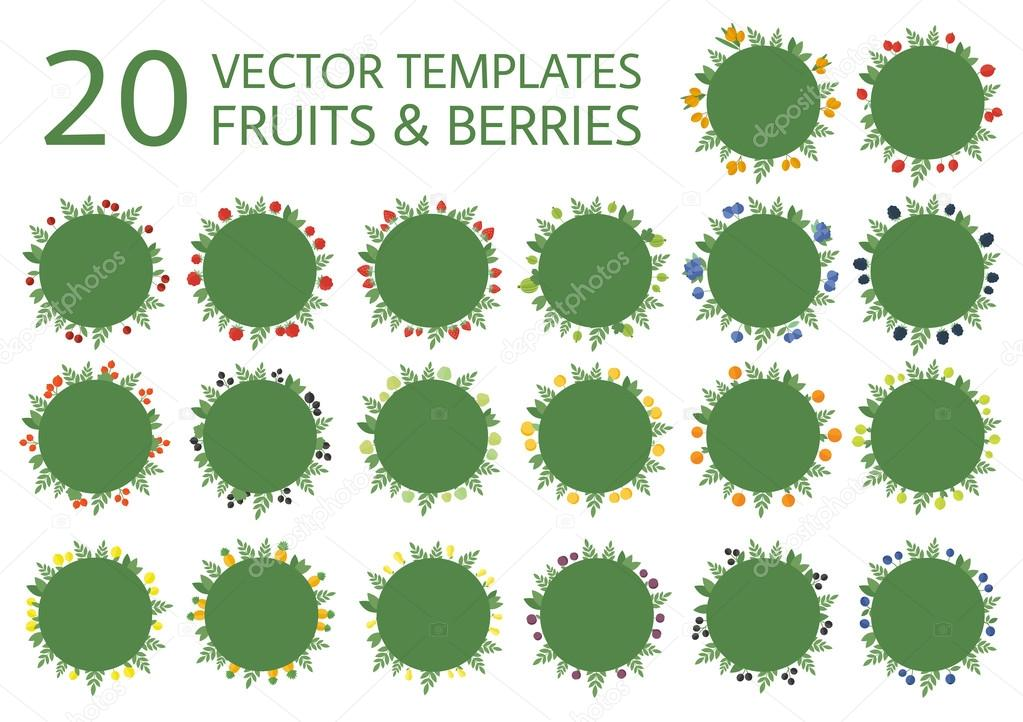 Collection banners with fruits in vector
