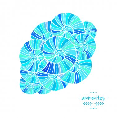 Pattern with ammonites. Vector illustration. Sea theme