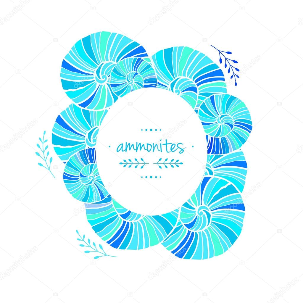 Frame with a pattern of ammonites. Vector illustration. Sea theme