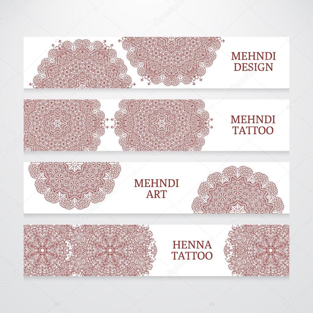 Set of flyer templates mehndi design — Stock Vector © homobibens ...