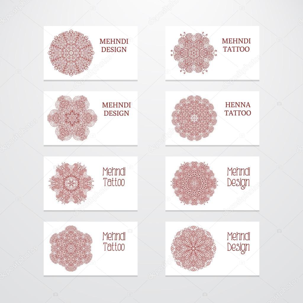 Set of business card templates mehndi design stock vector set of business card templates mehndi design stock vector 79574094 magicingreecefo Image collections