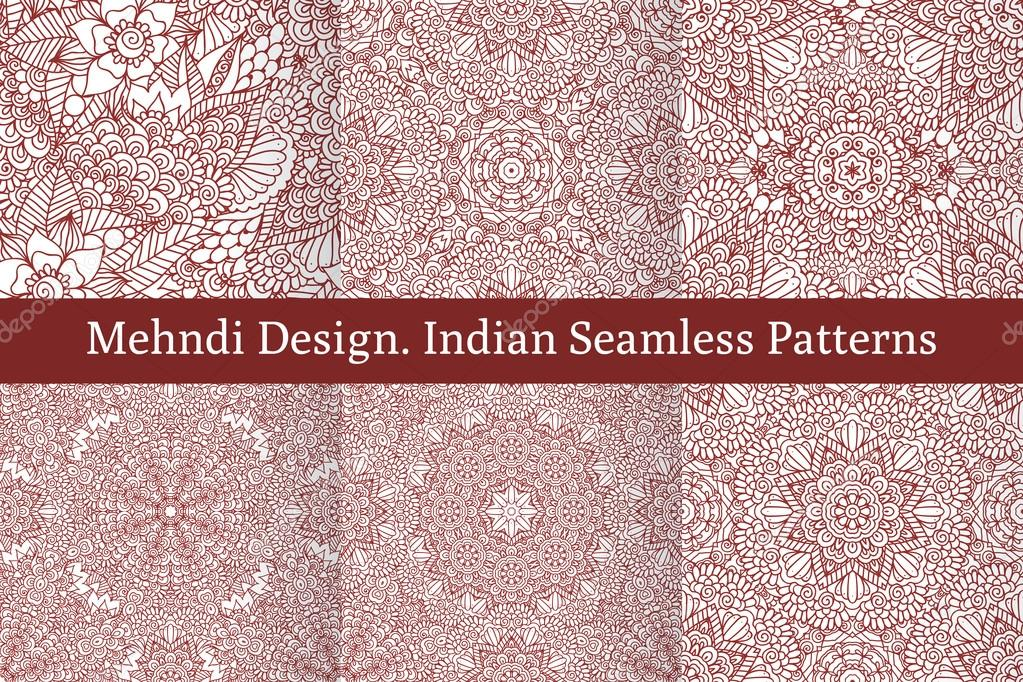 Mehndi Henna Design Seamless Patterns Stock Vector C Homobibens