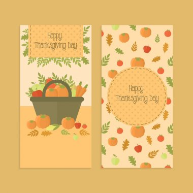 Flyers, banners for Thanksgiving day with pumpkins