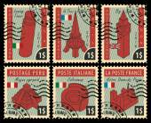 Fotografie Briefmarken mit architektonischen Sehenswürdigkeiten