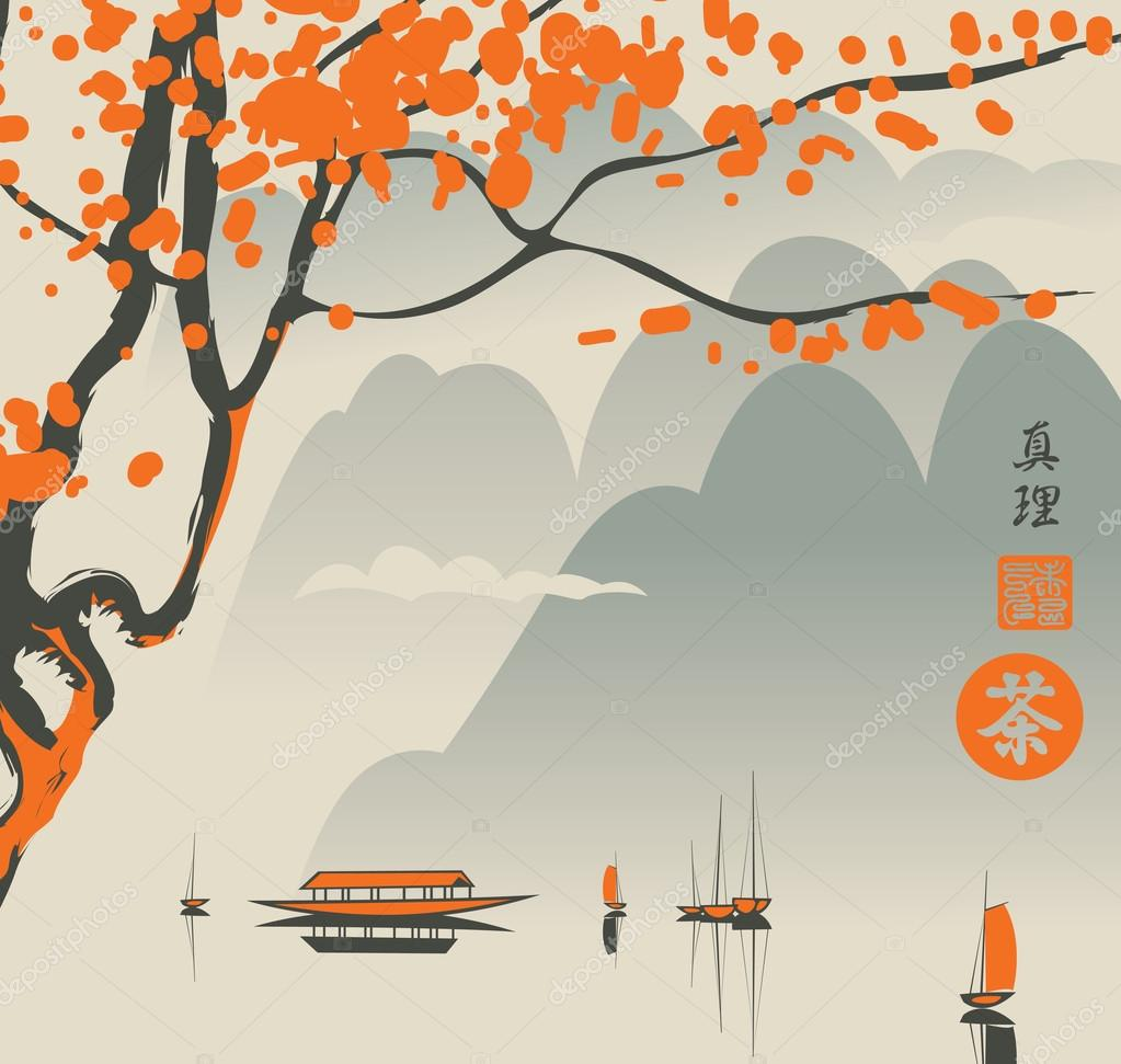Mountain landscape in the Chinese or Japanese