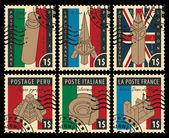 Fotografie Reihe von Briefmarken mit architektonischen Wahrzeichen
