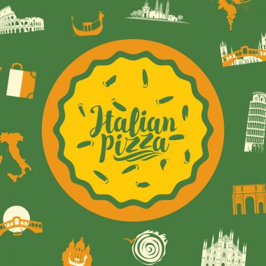 Banner with italian pizza, calligraphic inscription and famous landmarks of Italy in flat style on a green background. Italian symbols and food. Vector illustration for menu, label, flyer, packing icon