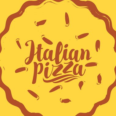 Decorative pizza with inscription Italian pizza in flat style on yellow background. Vector banner for pizzeria or restaurant menu, label, flyer, packing, logo, icon, advertising poster, design element icon