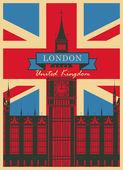 Fotografie Big Ben gegen die britische Flagge