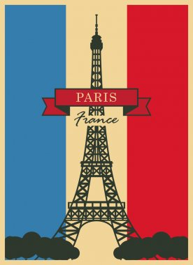 Eiffel Tower against the French flag