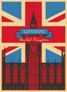 Big Ben against the British flag