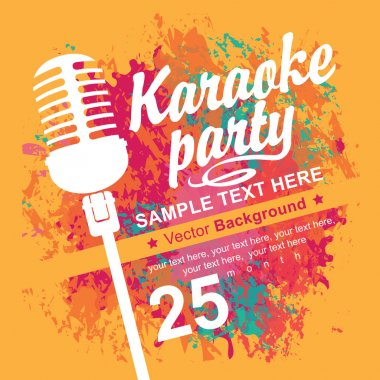 banner with microphone for karaoke parties