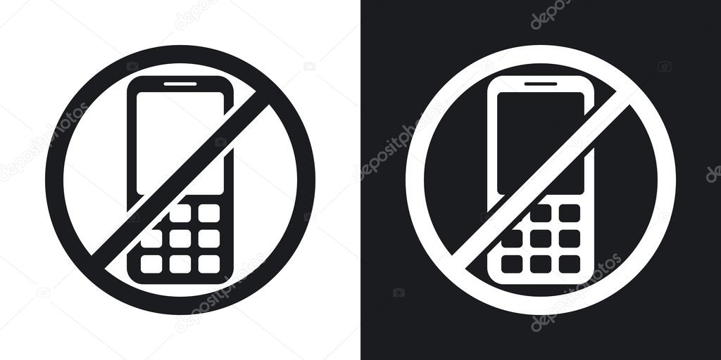 no mobile phone signs stock vector