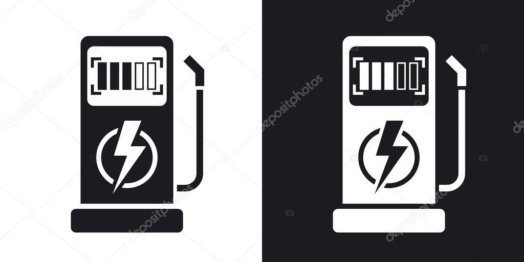 Laadstation Voor Elektrische Auto Pictogrammen Stockvector