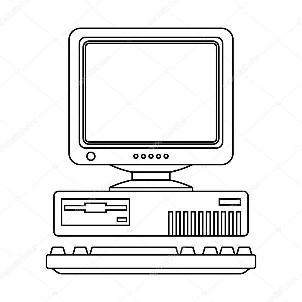 Retro Computer Icon — Stock Vector © RealVector #123222886