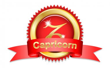 Capricorn sign with red ribbon