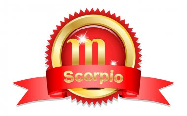 Scorpio sign with red ribbon