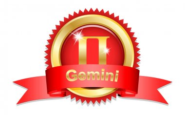 Gemini sign with red ribbon