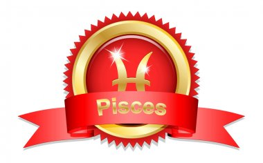 Pisces sign with red ribbon
